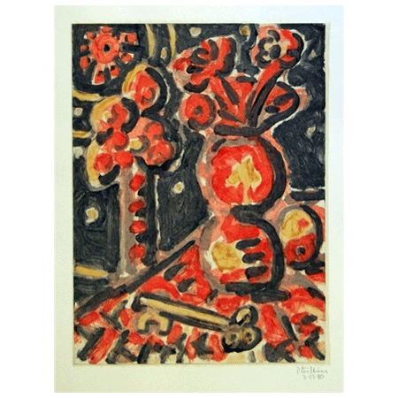 "Peter Julian - ""Still Life with Sun"", 3/23/1990; monotype (second state); 29 3/4"" x 22 ¼"" (74 x 56 cm)"