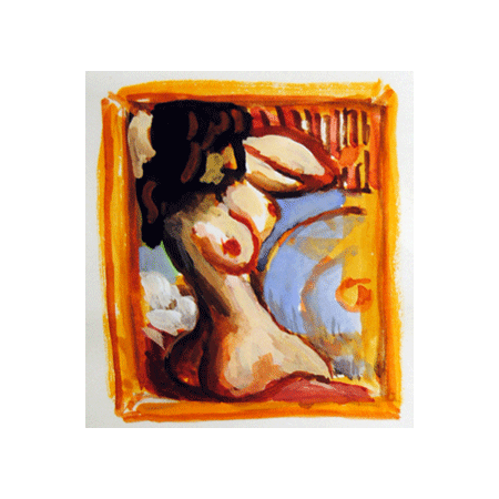 "Peter Julian - ""Nude"" 2010, gouache, 3.25"" x 2.75"" (8.3 x 7 cm)"