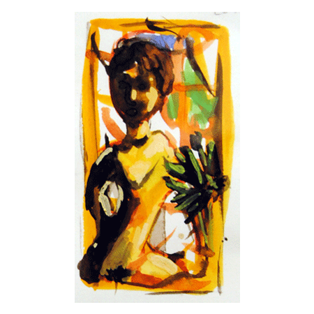 "Peter Julian - ""Nude"" 2010, gouache, 3.3"" x 1.75"" (8.5 x 4.25 cm)"