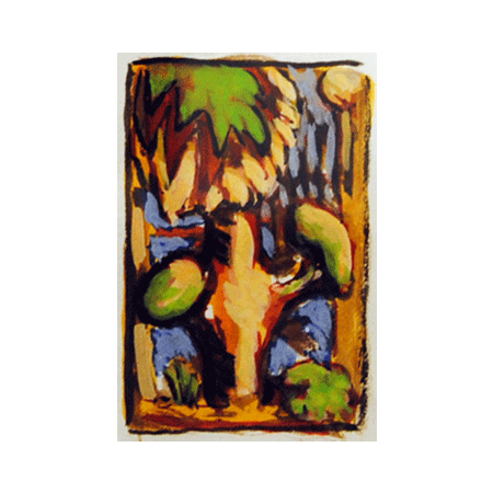 "Peter Julian - ""Tree"" 2010, gouache, 2.5"" x 1.75"" (6.5 x 4.25 cm)"