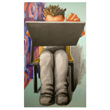 "Peter Julian - ""Student"" 2003, acrylic on canvas, 77"" x 44"" (195 x 114 cm)"