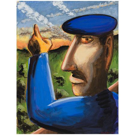 """Peter Julian - """"Farmer"""" 2015, gouache, 18"""" x 13.75"""" (45.25 x 34.75 cm)"""