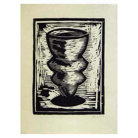 "Peter Julian - ""Cup"", 1991; woodcut, 24"" x 18"" (61 x 46 cm); Edition of 25. Printed and published by Peter Julian."